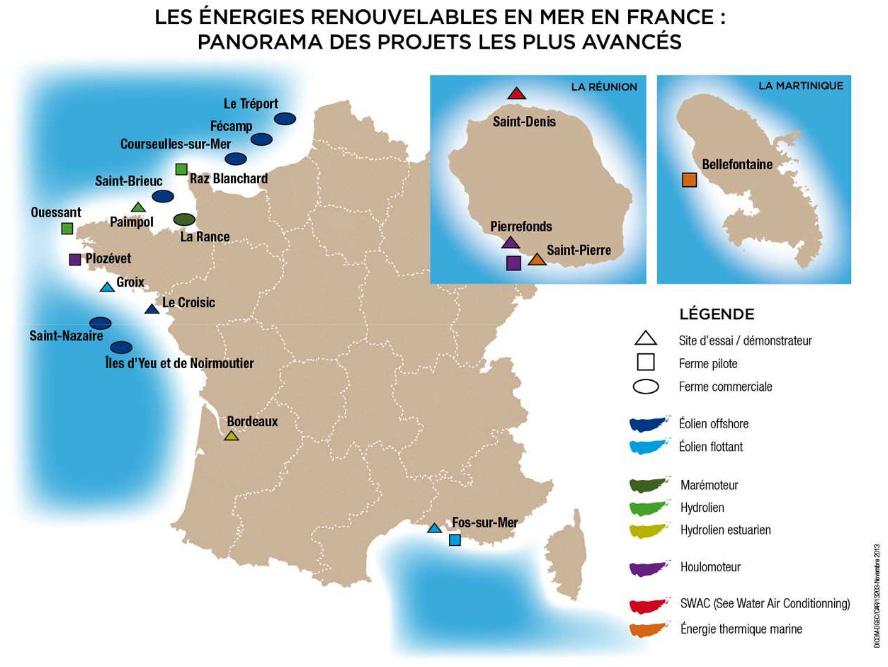 Elles seront situées près de Fécamp, Le Tréport, Courseulles, Saint-Brieuc, Saint-Nazaire et Yeu-Noirmoutier.